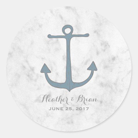 Blue Rustic Anchor Wedding Classic Round Sticker