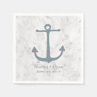 Blue Rustic Anchor Wedding Paper Napkin