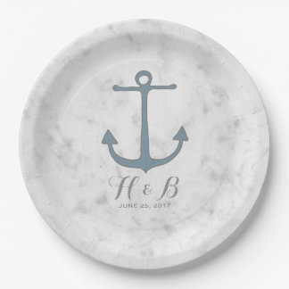 Blue Rustic Anchor Wedding Paper Plate