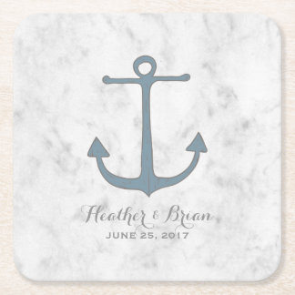 Blue Rustic Anchor Wedding Square Paper Coaster