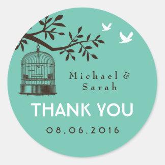 Blue Rustic and Vintage Bird Cage Wedding Sticker