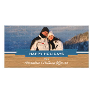 Blue Rustic Banner Holiday Photo Card