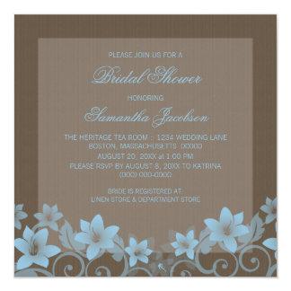 """Blue Rustic Floral Bridal Shower Invite 5.25"""" Square Invitation Card"""