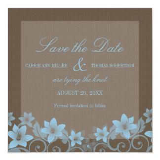 """Blue Rustic Floral Save the Date Invite 5.25"""" Square Invitation Card"""