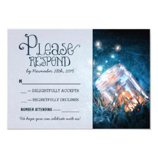 blue rustic lights mason jar wedding RSVP 9 Cm X 13 Cm Invitation Card