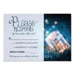 blue rustic lights mason jar wedding RSVP Invite