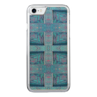 Blue rustic pattern carved iPhone 8/7 case