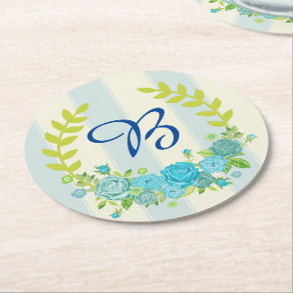 Blue rustic vintage Floral Wreath Coasters Round Paper Coaster