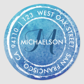 Blue Rustic Watercolor Monogram | Round Address Classic Round Sticker