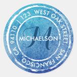 Blue Rustic Watercolor Monogram | Round Address Round Sticker