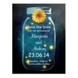 Blue Rustic Whimsical Mason Jar Save the Date