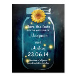 Blue Rustic Whimsical Mason Jar Save the Date Postcard