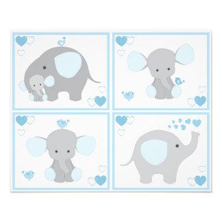 Blue Safari Elephant Boy Nursery Wall Art Prints