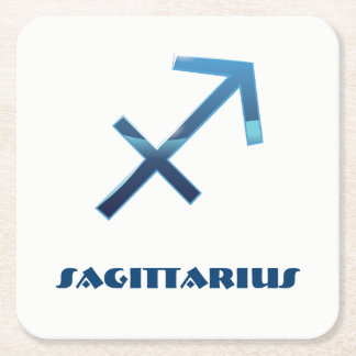 Blue Sagittarius Zodiac Sign On White Square Paper Coaster