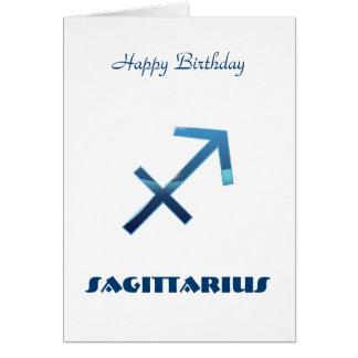 Blue Sagittarius Zodiac Signs Happy Birthday Card
