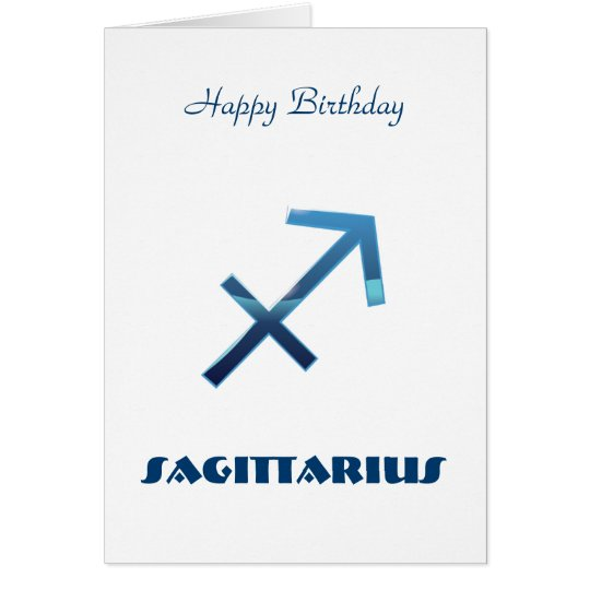 Blue Sagittarius Zodiac Signs Happy Birthday Card