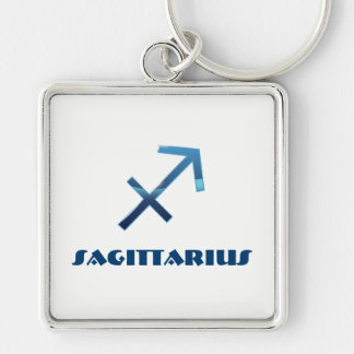 Blue Sagittarius Zodiac Signs On White Silver-Colored Square Key Ring