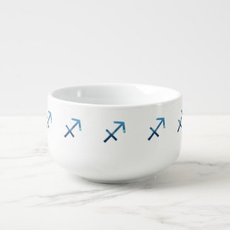 Blue Sagittarius Zodiac Signs On White Soup Mug
