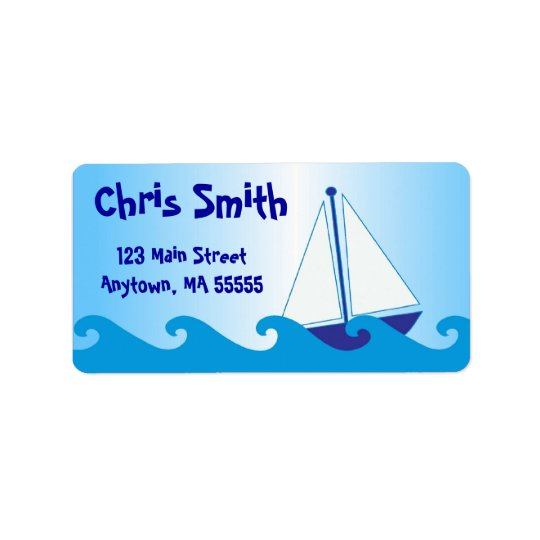 Blue Sail Boat Address Labels