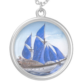 Blue Sail Boat Necklace