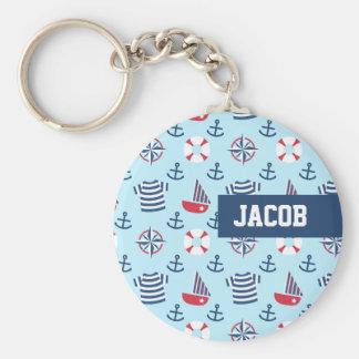 Blue Sailboat Anchor Nautical Theme Pattern Key Ring