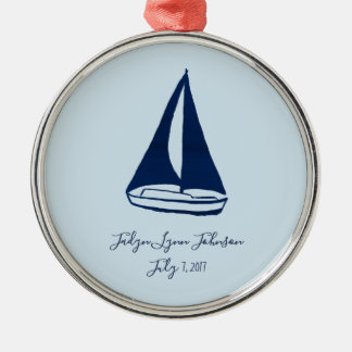 Blue Sailboat Baby Ornament