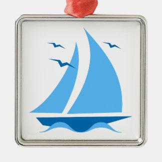 Blue Sailboat Christmas Ornament