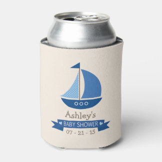 Blue Sailboat, Nautical Baby Shower Can Cooler