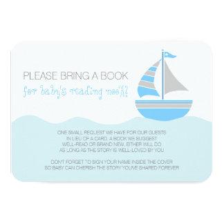 Blue Sailboat Nautical Boy Baby Shower Enclosure 9 Cm X 13 Cm Invitation Card