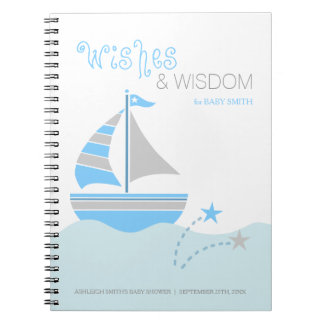 Blue Sailboat Nautical Boy Baby Shower Guest Book Spiral Note Books