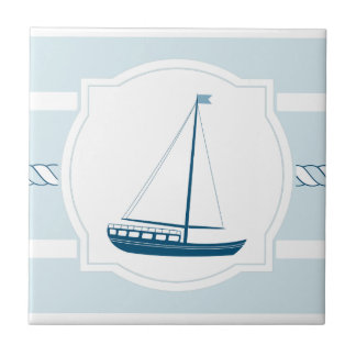 Blue sailboat nautical style stripes ceramic tile