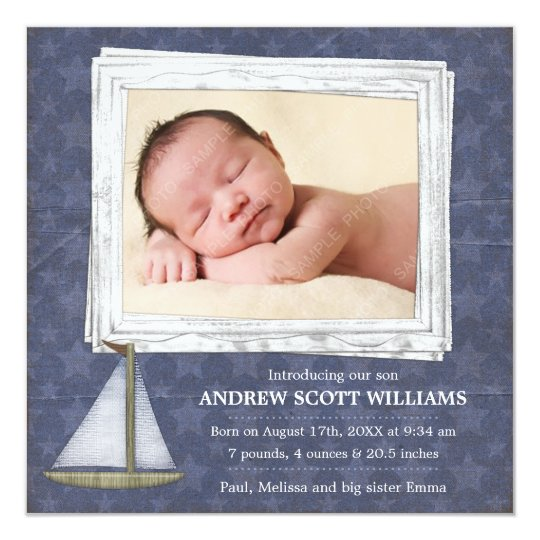 Blue Sailboat Stars Boy Photo Birth Announcement