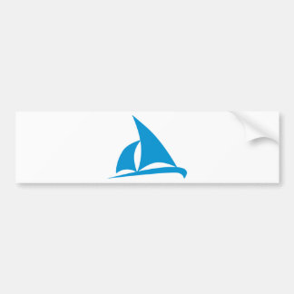 Blue sailing boat bumper sticker
