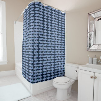 Blue Salmon Patterned Shower Curtain