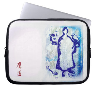 Blue Samurai Watercolor Graffiti Falcon Lord Computer Sleeves