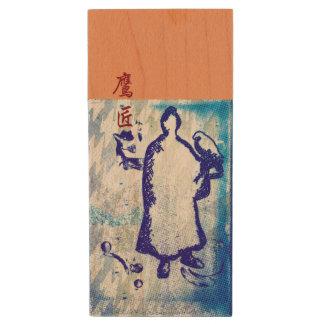 Blue Samurai Watercolor Graffiti Falcon Lord Wood USB 3.0 Flash Drive