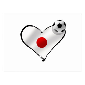 Blue Samurais Japan flag soccer ball love Postcard