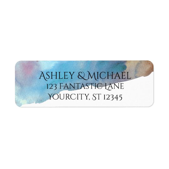 Blue & Sand Abstract Beach Watercolor Return Address Label
