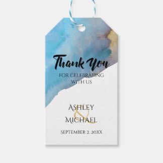 Blue & Sand Abstract Beach Watercolor Thank You 2 Gift Tags