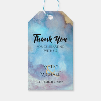 Blue & Sand Abstract Beach Watercolor Thank You Gift Tags