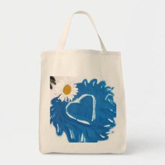 Blue Sand Heart Grocery Bag