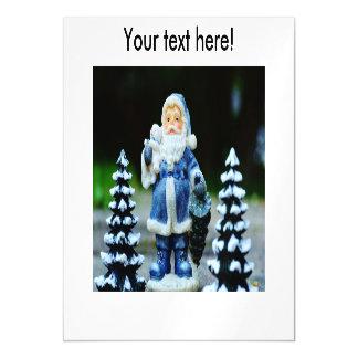 Blue Santa Claus Magnetic Invitations