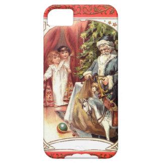 Blue santa delivering gifts iPhone 5 cases