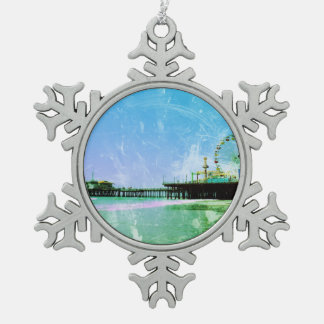 Blue Santa Monica Pier Snowflake Pewter Christmas Ornament