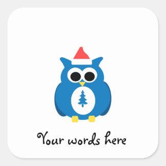 Blue santa owl square stickers