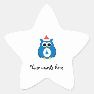 Blue santa owl sticker
