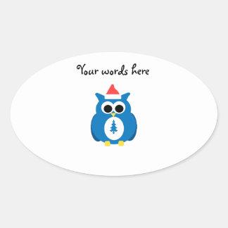Blue santa owl oval stickers