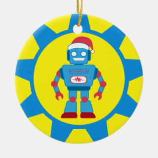 Blue Santa Robot Christmas Ornament