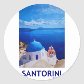 Blue Santorini, Greece - View from Oia Round Sticker
