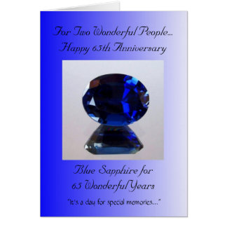 Blue Sapphire 65th Wedding Anniversary Card